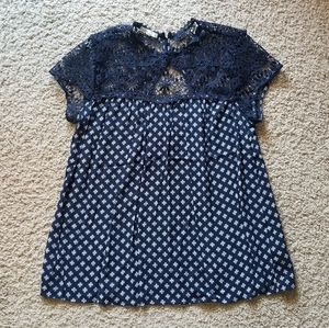 🍁3 for $20 Dark blue lace top